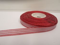 Red pencil stripe ribbon 2 metres or full roll (25 metres) 5mm 10mm double sided